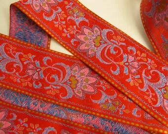 FLORAL SARI BORDER 2 yards Jacquard trim in blue, pink, mustard,  gold, on orange. 2 1/4 inch wide. 976-d Jacquard trim