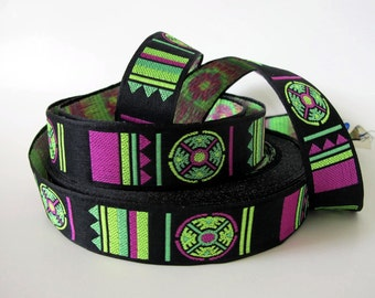 SHINTO 3 yards Jacquard trim in lime, green, magenta on black. 1 inch wide. 2032-A Brocade trim
