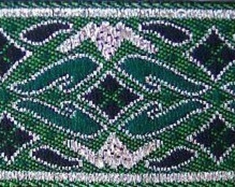 CONQUISTADOR Jacquard trim in metallic silver, green and black. Sold by the yard. 7/8 inch wide. 283-F, St Patrick, Celtic, Medieval trim