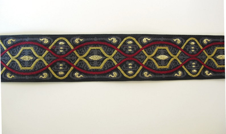 HIGH DESIGN Jacquard trim in wine red mustard gold on image 0