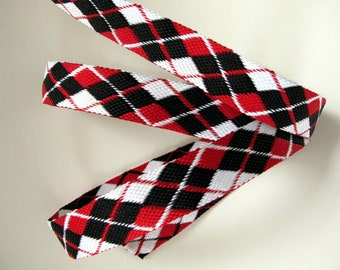 ARGYLE Jacquard trim in red, white and black . Fully REVERSIBLE strap. Sold by the yard. 1 inch wide. 2065-A Scottish Tartan Plaid