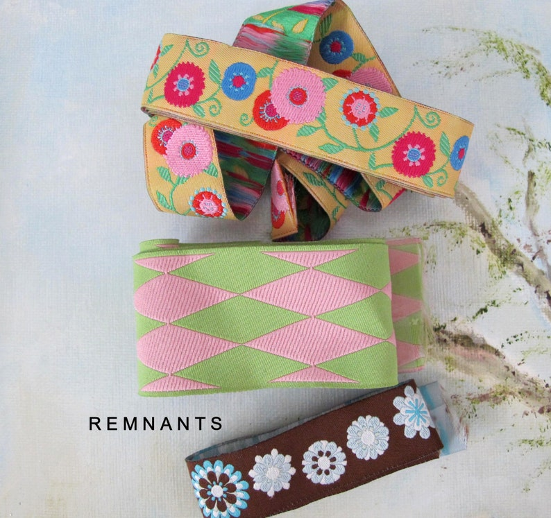 REMNANT MIX no 63 Variety Jacquard trims. Psychedelic Flowers image 0