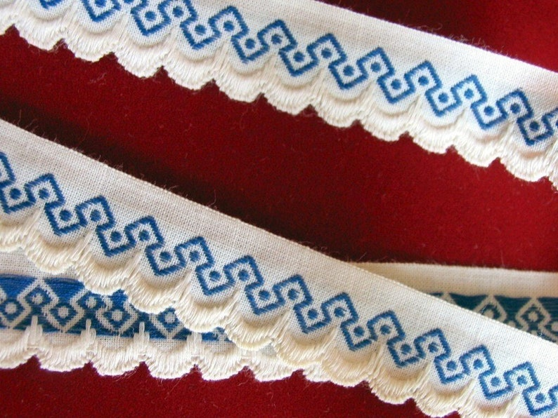 3 yards lot SCALLOP EDGE GEOMETRIC vintage edge lace in blue image 0