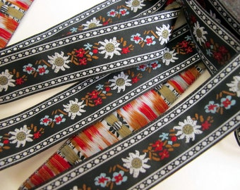 EDELWEISS and ENZIAN fabric Jacquard trim. White, red, light blue, brown, on black. Sold by the yard. 3/4 inch wide. 908(3)-A Bavarian trim