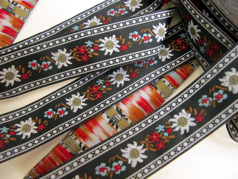 EDELWEISS and ENZIAN fabric Jacquard trim. White red light image 0
