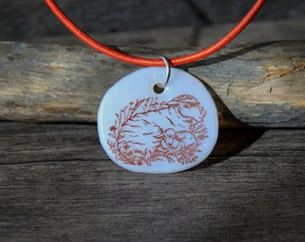 Baby Lamb Blue and Silver Glass Pendant