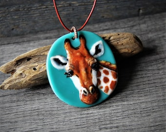 Sweet giraffe necklace - Unique fused glass pendant by FannyD