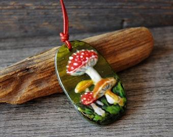 Mushroom , fused glass pendant, mushroom Art jewelry, by FannyD