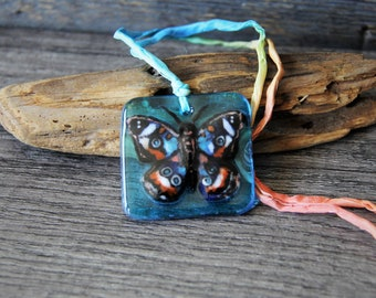 Boho Heart - Unique Butterfly necklace, gypsy fused glass pendant by FannyD