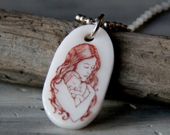 Mother love - fused glass pendant- mom and baby necklace