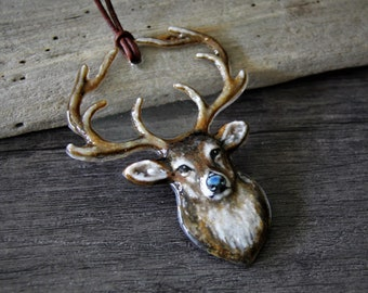 Beautiful White tailed deer portrait necklace - fused glass jewelry -  fused glass pendant