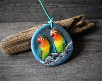 Beautiful Love birds - Unique fused glass pendant - Bird jewelry by Fannyd