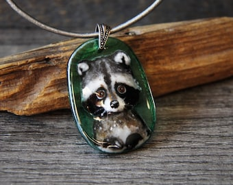 Baby Raccoon portrait necklace -  fused glass pendant- woodland jewelry by FannyD