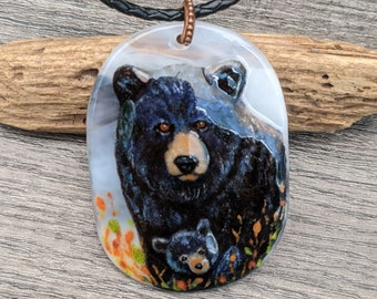 Black bear mom and baby - Unique Fused glass pendant by FannyD