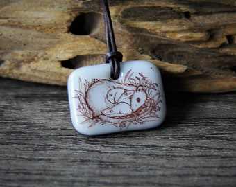 Cute Mom And Babies Rats - fused glass pendant- rat necklace by FannyD