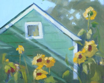 Original Signed Landscape Oil Painting// Green Farmhouse and Yellow Sunflower Garden// 12 x 16 Wood Panel Unframed