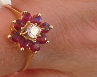 Burmese Ruby Cluster and Diamond Ring/14K Yellow Gold Setting/Woman's Size 8.25