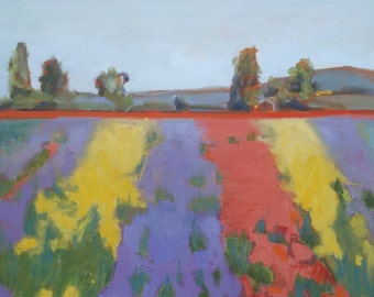 Purple Yellow and Red Dahlia Fields with Mountains Trees//Original Oregon Landscape Oil Painting//16 x 16 Gallery Wrap Canvas/Painted Sides