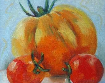 Heritage Tomato on Birchwood// 8 x 8 Original Still Life Oil Painting//Kitchen Art//Red Yellow and Aqua//Hanger