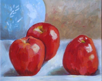 Still Life Oil Painting//Red Apples//12 x 12 Canvas with Painted Sides and Wire Hanger//Wall Decor
