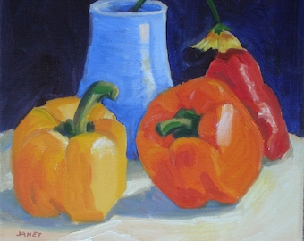 Tri Color Sweet Peppers Red Yellow and Orange//Still Life Original Oil Painting//10 x 10 Canvas//Midnight Blue Background// Kitchen Art