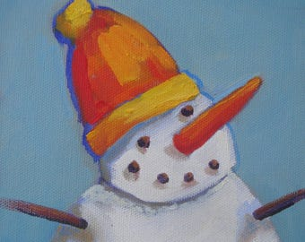 Christmas Snowman with Orange Hat and Carrot Nose/Oil on Canvas Panel/6 x 8 Unframed/Signed Janet Ramble