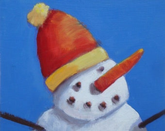Snowman/Holiday Wall Art/6 x 8x .5 Oil Paint on Board/White Painted Sides and Back/Wire Hanger/Signed Janet Ramble