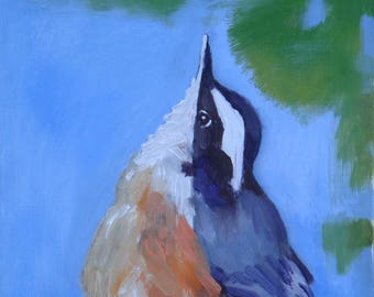 Chickadee Bird Portrait//6 x 8 Oil Paint on Wood//Signed Original//White Sides and Back//Wire Hanger