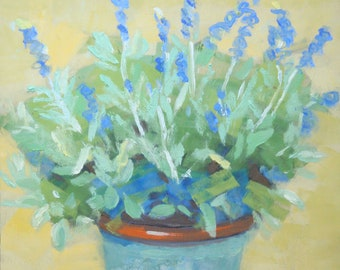 Cold Wax Oil Painting/Lavenderin a Ceramic Pot/11 x 14 Wood Panel/Still Life Original Signed Janet Ramble