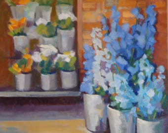 Flower Market//Aqua and Blue Delphinium//Original Oil Painting//16 x 16 x 1.5 Gallery Wrap Canvas//Painted Sides//Wire Hanger