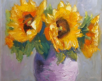 Sunflower Bouquet/Still Life Original Oil Painting/11 x 14 Inch Canvas/Signed Janet Ramble