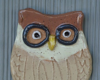 Owl Baby/4 x 5 Inch Indoor-Outdoor Wall Art/Glazed Speckled Buff Clay/Metal Hanger/Signed Janet