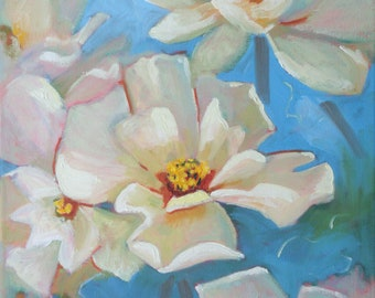 Original Oil Painting/Magnolias in Bloom/12 x 16 canvas/Signed Janet Ramble/White Flowers on Aqua Turquoise and Green