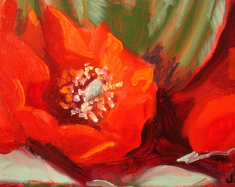 Still Life Oil Painting/Cactus in Bloom/9 x 12 Birch Wood/Natural Sides/Wire Hanger/Signed Janet Ramble