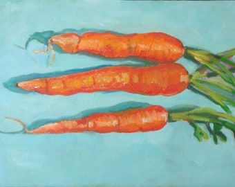 Still Life Oil Painting//Carrot Trio//Kitchen Art//9 x 12 on Wood