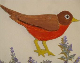 Red Robin Clay Wall Art/Indoor-Outdoor Bird/Metal Hanger/Handmade Signed Janet