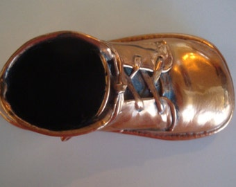 Copper Baby Shoe//Vintage 1946//Home Decor Memorabilia//Toddler Hightop