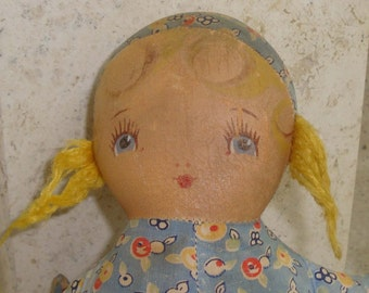 Vintage Dutch Baby Rag Doll/Blue Floral Cloth with Yellow Yarn Hair and Painted Face/1946 Vintage/10 Inches/Antique Toy