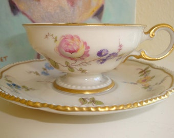Mini Tea Cup and Saucer//Sunnyvale Pattern by Castleton, USA//Vintage Bone China//Creamy White with Flowers and Gold Trim