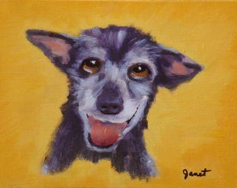 Happy Puppy Oil Painting/6 x 8 Canvas Panel/Kid's Art/Signed Janet Ramble