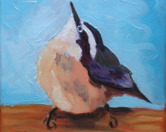 Chickadee Bird Portrait//6 x 6 Oil Paint on Canvas//Signed Original//Painted Sides and Hanger