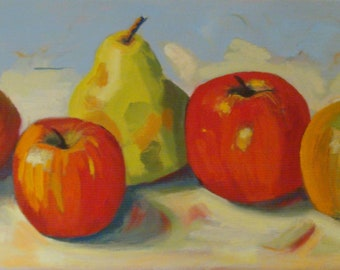 Still Life Oil Painting/Red Apples and Green Pear/7 x 14 Inch Canvas/Original Signed Janet Ramble