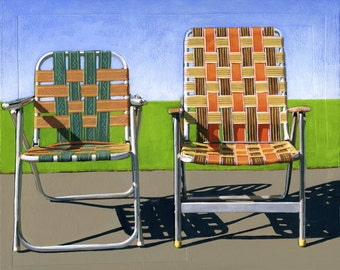 Summer Chairs (orange) - limited edition giclee print 88/100 - As seen in WEST ELM catalog