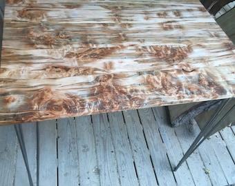 Burl maple hairpin table