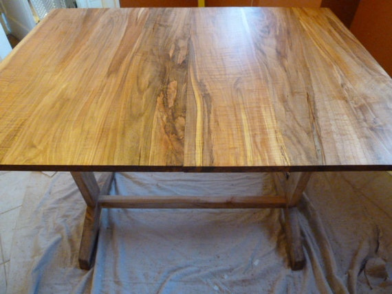Extendable Trestle Dining Table With Modern Detail Etsy