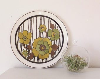 Mid Century Platter 1960's Floral Platter Mustard Yellow, Avocado Green Vintage Plate Large Plate Mid Century Kitchen Serving Platter 1970's