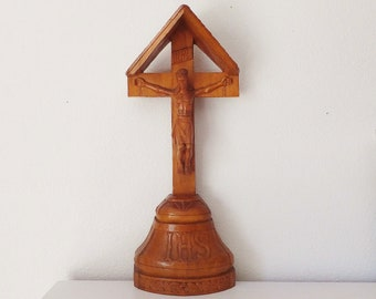 Antique Carved Wooden Jesus on Cross Wood Crucifix Detailed Wood Carving Savior Christian Sculpture Niche Figure Stations of Cross Vignette