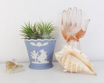 Blue Wedgwood Style Vintage Handmade Ceramic Pot