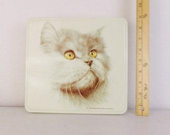 Rectangular metal box made for Marlex International Massilly France 1984 Vintage cat tin by Merline