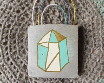 Modern Geometric Crystal Painting Boho Found Item Assemblage Painting Geometric Decor Boho Decor Silver & Gold Small Painting Objet d'Art